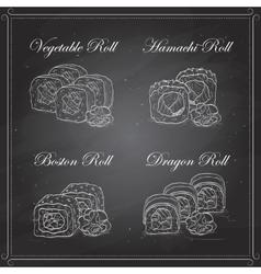 sushi sketch set vector image