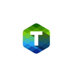 t hexagon pixel letter shadow logo icon design vector image