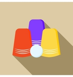 Three game thimbles with a ball icon flat style vector image