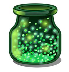 Transparent jar of green glass with a luminous vector