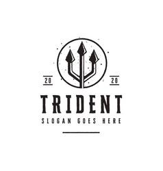 Trident spear poseidon logo neptune god vector