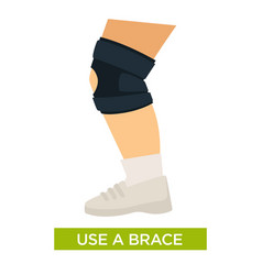 Use a brace for support with knee bracing close up vector
