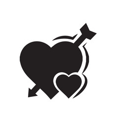 Valentines heart mini arrow black icon vector