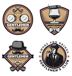 Vintage colored gentleman emblems set vector