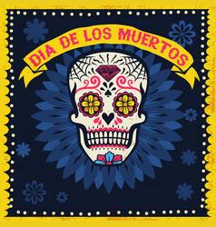 vintage dia de los muertos design with sugar skull vector image