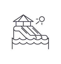 Waterslides line icon concept waterslides vector