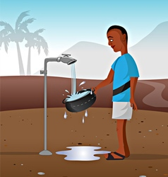 Watertap in African village vector