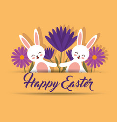 white cute rabbits flowers happy easter yellow vector image