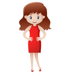 woman in red dress standing vector image