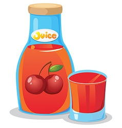 A bottle of cherry juice vector image vector image