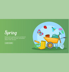 Spring time banner horizontal man cartoon style vector