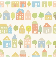 Cute houses and trees pattern vector image