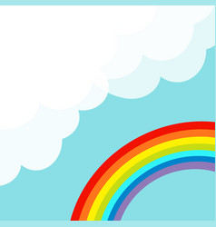 fluffy cloud in corner cloudshape rainbow in the vector image vector image
