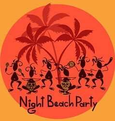 Funny invitation to night beach party vector image