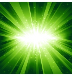 green light burst with stars vector image vector image