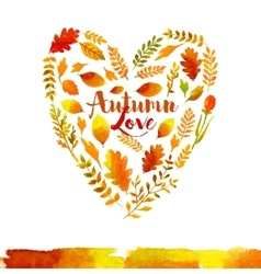 Heart of watercolor Autumn leaves vector image vector image