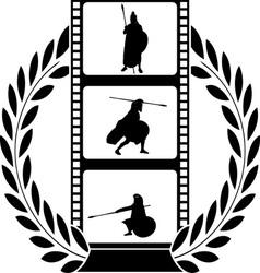 laurel wreath and film with warrior vector image vector image