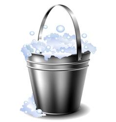Metal bucket with foam vector image