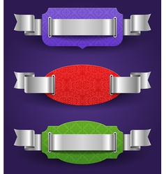Ornate color frames with silver ribbons - vector image vector image