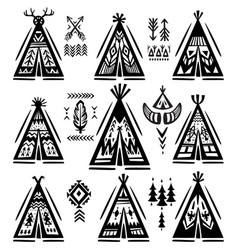 set of tee-pee or wigwams with ornamental elements vector image