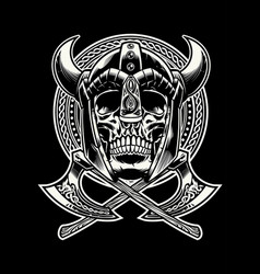 skull of viking warrior with crossed axes vector image vector image