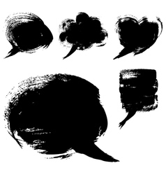 Speech bubble shapes drawn with a brush and paint vector image vector image
