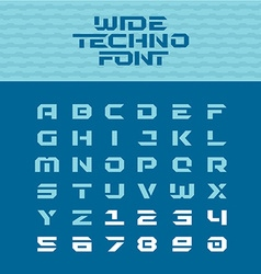 Wide techno poster font geometric angular letters vector
