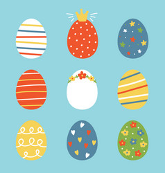 colorful doodle easter eggs vector image vector image