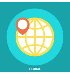 Globe Icon with Pointer vector image