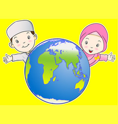 Muslim kids and the world - vector