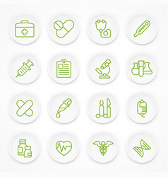 round green medical icons vector image vector image