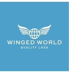 Winged logo planet earth abstract high vector image vector image