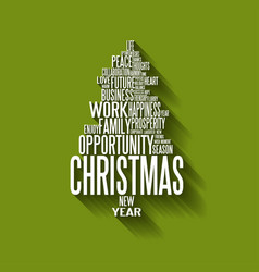 abstract christmas tree made from words vector image