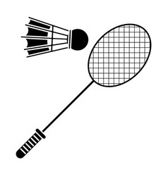 badminton racket shuttlecock sport pictogram vector image