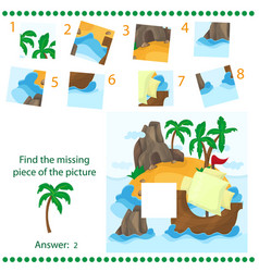 find missing piece - puzzle game for children - vector image