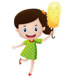 little girl with duster vector image vector image