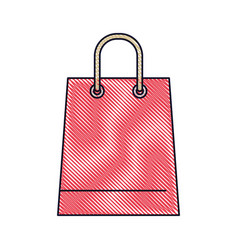 trapezoid shopping bag icon with handle in colored vector image