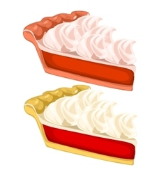 Two delicious pieces of cake with cream vector image vector image