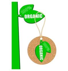 100 percent organic cork natural tag sale label vector image