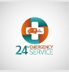 24hr emergency service logo vector