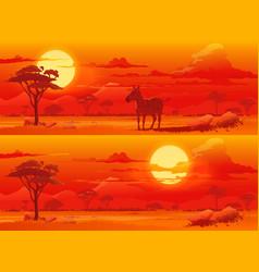African savanna sunset animals landscape vector