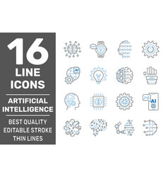 ai and iiot related set icons digital brain vector image