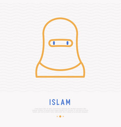 Arab woman in hijab thin line icon vector