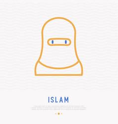 Arab woman in hijab thin line icon vector