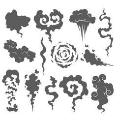 Bad smell smoke clouds steam smoke clouds of vector