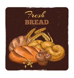 bakery grunge emblem design hand sketched fresh vector image