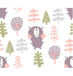 Bear in woods pattern vector