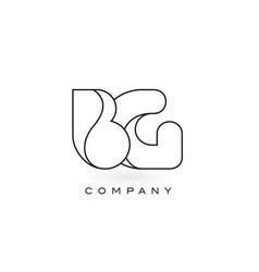 bg monogram letter logo with thin black monogram vector image