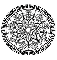 black and white round floral greek mandala vector image