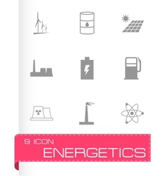 black energetics icons set vector image